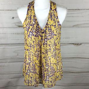 NWT purple and gold LSU Sheer sleeveless Top Sz M